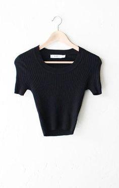 Scoop Neck Sweater Knit Crop Top - Black