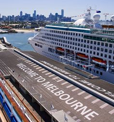 Cruise ship at Station Pier, city skyline view. Melbourne. Australia