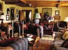 Room of the Day ~ great mix of tartans, leather, tweed, oriental rugs, art, beams - Ward Denton's Scottish manor 9.9.2014