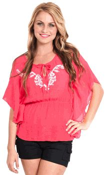 embroidered butterfly sleeve top