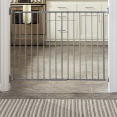 Storkcraft Easy Walk-Thru Metal Safety Gate, Choose Your Finish, Gray Top Of Stairs Gate, Stair Gate, Best Baby Gates, Retractable Gate, Kids Gate, Glass Stairs, Play Yard, Childproofing, Baby Safety