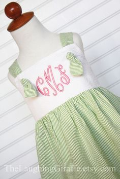 The MeredithGirls Easter Dress Monogrammed by TheLaughingGiraffe, $52.00