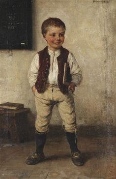 """Schoolboy"". Hugo Oehmichen (1843 - 1932), German painter"