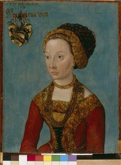 1523___ Bildnis einer Braut, auf Lindenholz (Tilia sp.). by Lucas Cranach, d. Ä. (perhaps). Wittenberg. German National Museum Nuremberg.