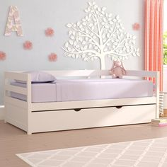 Mack & Milo Binne Twin Daybed with Trundle Bed Frame Colour: White Daybed With Trundle Bed, Daybed With Storage, Upholstered Daybed, Panel Headboard, Wood Slats, Bed Sizes, Thing 1, Ideas, Quartos