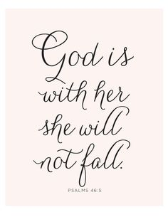 Psalms 46:5 Print - Bible Verse - God Is Within her - She will not Fall - Spiritual - Christian Art