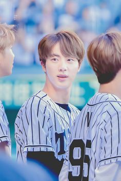 JIN BTS @The Hanshin Tigers vs. Nippon Ham Fighters Baseball Game! For the ceremonial fist pitch~