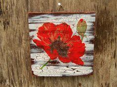 Poppy Wall Decor  Red Poppies Wall Art  Decoupage от WoodlandHut