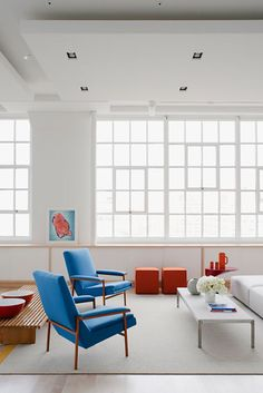 Modern and design interior with blue seats.