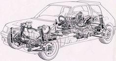 Peugeot 205 T16 - Rally group  B - cutaway.