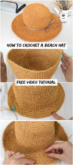 Crochet accessories 361132463869837212 - How To Crochet A Beach Hat – Crochetopedia Source by stitchingcello Sombrero A Crochet, Crochet Beanie, Knit Or Crochet, Crochet Crafts, Crochet Stitches, Crochet Projects, Knitted Hats, Crochet Scarves, Crochet Summer Hats