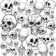 """Set of vector skull illustrations and templates for your tattoo designs, prints and other graphic designs. Format: Ai, Tif stock vector clip art and illustrations. Free for download. Set name: """"Skull illustrations"""" for Adobe Illustrator. Theme tags: skull templates, tattoo…"""