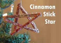 Cinnamon Stick Star Ornament @Kara Morehouse Hauenstein Activities Blog: My favorite Christmas decorations are the ones that the kids make for our tree. My four year old, with supervision hot glued the pieces of cinnamon sticks together. My five year old drizzled on the glue while my newly three year old drizzled on the glitter. We love natural ornaments! This one was inspired by Rosy Posy...