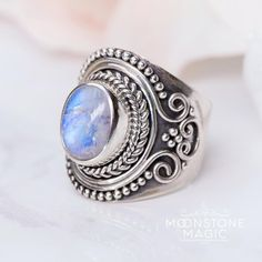 Genuine & iridescent Rainbow Moonstone   925 Sterling Silver  vintage inspired statement piece  radiates various colors when kissed by lighting___________