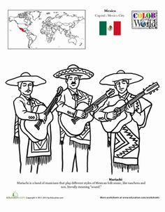 Hispanic Heritage Month Second Grade Fourth Grade Geography Places Worksheets: Mariachi Coloring Page