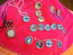 """recycle bottle caps into pendant or charm bracelet. Materials & Tools. Bottle Caps, Small images, 1"""" circle punch, Diamond Glaze,   tacky Glue  rubber mallet  small nail  wooden board   jump rings  jewelry pliers  necklace base     Steps: Go to --http://www.diynetwork.com/decorating/bottle-cap-jewelry/index.html#"""