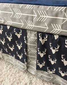 Grey Arrows Crib Skirt Navy Deer Crib Skirt by RitzyBabyOriginal