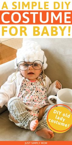 Looking for a simple costume that you can create for your baby to wear this Halloween? There is nothing more cute than a baby dressed up as an old lady! What you need to know about creating an old lady costume for your baby. This simple costume DIY is fast and easy to create at home with little cost! Check out this top baby Halloween costume DIY and more right here. #BabyHalloweenCostume #DIYCostume #OldLadyCostume