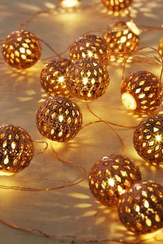 Moroccan Lantern Ball Set of 40 LED String Light Ornaments