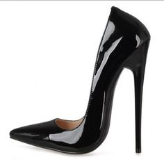Fetish pump of extram high heel 6.5 inch (16m) in black patent, also available in Red.