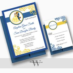Beauty and the Beast Wedding Invitations Disney by Wedsclusive