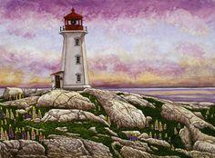 Winter Gallery - Artist Thelma Winter - Nova Scotia Peggys Cove Lighthouse (Powered by CubeCart) Lighthouse Art, Lion Wallpaper, Beacon Of Light, Quilling Designs, Winter Art, Nova Scotia, Lighthouses, North America, Fine Art Prints