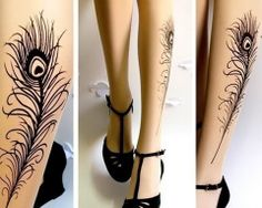 Thigh High Tattoo Nylons Stockings  and T-Strap Shoes.