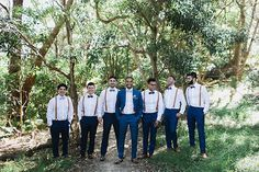 Groom & groomsmen in blue