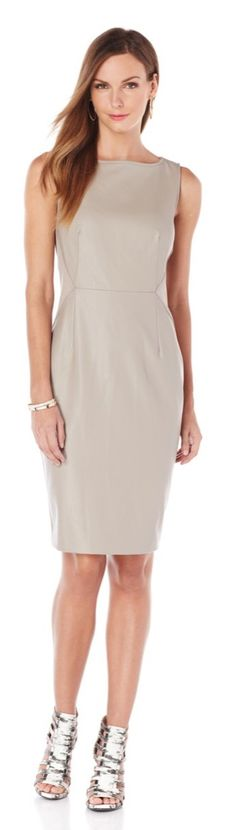 This seriously stylish @giulianarancic shift dress takes your look to a whole new level of glamour! The figure-flattering silhouette and faux leather fabric makes a showstopping look when paired with high-heeled pumps for a special night out, or give it a sophisticated edge with a mixed media blazer and black leather boots for the office!