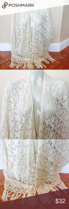 ALTAR'D STATE Open Boho Cardigan Crochet Bottom ALTAR'D STATE Open Boho Cardigan Crochet Bottom & Fringe Festival Duster Size M/L 100% acrylic  Preowned good condition Altar'd State Sweaters Shrugs & Ponchos