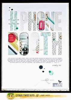 #papercraft #scrapbook #layout - Janine Langer .Paper Love: Citrus Twist Kits | May 2015 Layouts