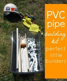 PVC pipe building kit- fun and sure to spark creativity. To make for outdoor play. Pvc Projects, Projects For Kids, Crafts For Kids, Block Area, Block Center, Party Fiesta, Thing 1, Outdoor Learning, Kits For Kids
