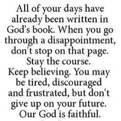 Stay the course...keep believing