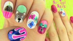 Nails Without Nail Art Tools! 5 Nail Art Designs! My fourth no tool nail art is here. I show how to paint a bear, cupcake, butterflies, double color drip and chevron pattern with rhinestones on your nails. All you need to recreate this nail art are some nail polish and a toothpick. Enjoy