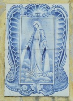 Tile Murals, Tile Art, Hermetic Tarot, Tile Panels, Blue Pottery, Drawing Projects, Portuguese Tiles, Blessed Mother, Sacred Art