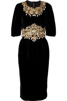 Dolce & Gabbana|Embellished velvet dress|NET-A-PORTER.COM