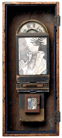 Assemblage collage by K. Mixed Media Sculpture, Collage Art Mixed Media, Collages, Shadow Box Art, Found Object Art, Assemblage Art, Recycled Art, Altered Art, Diy Art