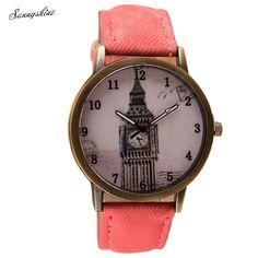 Fashiom Women Watches Retro Clock Tower WristWatch Cowboy Leather Band Analog Quartz Clock wholesale #Affiliate