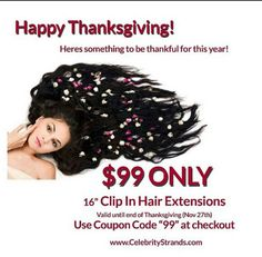 """LIMITED TIME!!! $99 ONLY Clip in Hair Extensions Offer expires Nov 27th 2015  Use coupon code '99' on our 16"""" clip in hair extensions to get them for only $99"""