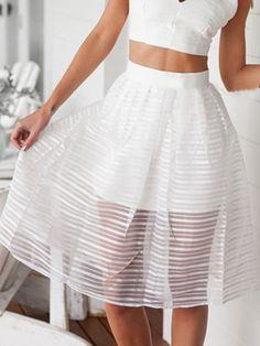 White, Stripe, Sheer, High Waist, Skater Skirt