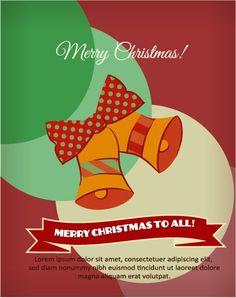 Christmas Vector illustration with bells and ribbon Vector Graphics, Vector Art, Image Graphic, Merry Christmas To All, Lorem Ipsum, Vectors, Design Art, Composition, Ribbon