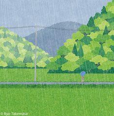 Love Illustration, Landscape Illustration, Landscape Art, 8 Bits, Japanese Prints, Art Inspo, Ryo Takemasa, Art Reference, Watercolor Art