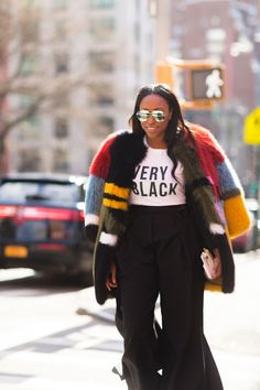 Technicolor coat from New York Fashion Week