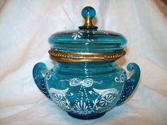 Rare Large Antique Moser Art Glass Dresser Box Victorian Blue White Enamel   eBay