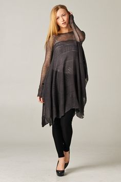 Open Knit Maddison Tunic in Charcoal on Emma Stine Limited