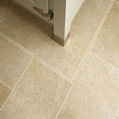 Karndean Bath Stone Knight Tile Vinyl Flooring has sandy beige tones and highly realistic granular design, these tiles are available in a trendy larger scale format. The strip displayed between tiles is design strip. Karndean Knight Tile, Karndean Flooring, Stone Flooring, Concrete Floors, Vinyl Flooring, Kitchen Flooring, Flooring Tiles, Floor Design, House Design