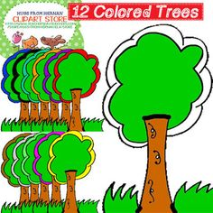 12 Colored Trees Clipart Set 9 for Personal and Commercial Use