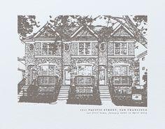 Custom House Letterpress Portrait Art by Minted for Minted