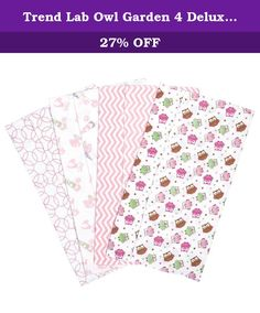 Trend Lab Owl Garden 4 Deluxe Flannel Burp Cloths. Trend Lab Deluxe Flannel Burp Cloths are generously oversized and highly absorbent to keep messes to a minimum. The Owl Garden 4 Pack Flannel Burp Cloth Set features four printed Deluxe 100% cotton flannel burp cloths. Burp cloth patterns include: an owls scatter print; a coral and white chevron print; a garden gnomes scatter print; and a pink and white circles print. Each burp cloth measures 10 in x 18 in. Additional colors, prints and...