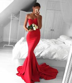 Stylish Red Sweetheart Neck Long Prom Dresses,Mermaid Prom Dresses,Sexy Red Evenng Dresses,Mermaid Graduation Dress,Formal Party Dress,Modest Evening Gowns,